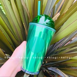 ✨NEW RARE✨Starbucks Green Metallic Dome Tumbler